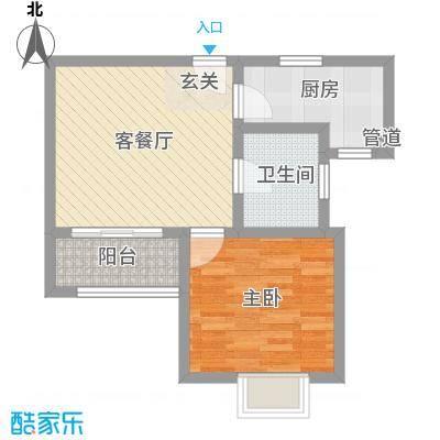 中宇花苑60.00㎡B户型1室1厅1卫1厨