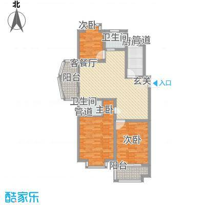 鑫隆广场120.00㎡C户型(已售完)户型3室2厅2卫