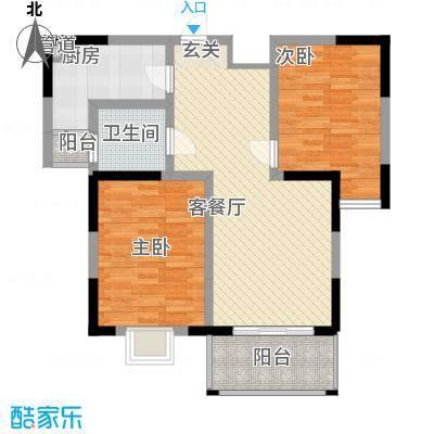 苏尚帝景95.00㎡一期6#5-B户型平面图户型2室2厅1卫
