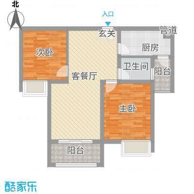 和兴东城86.00㎡三期3、4#楼F户型2室2厅1卫1厨