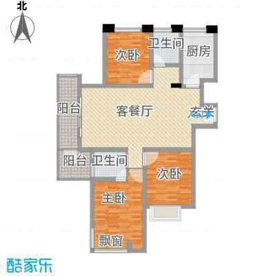 和兴东城139.00㎡三期1、2#楼A户型3室2厅2卫1厨
