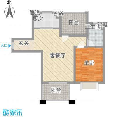中星・外滩印象花园88.47㎡一期2#楼C3户型偶层数户型1室2厅1卫1厨