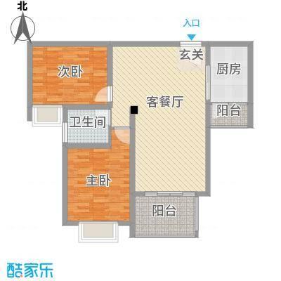 和兴东城106.00㎡三期1、2#楼B户型2室2厅1卫1厨