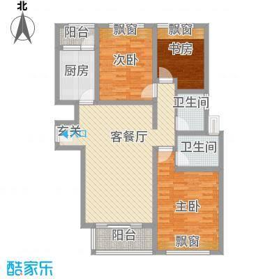 和兴东城124.00㎡三期1、2#楼C户型3室2厅2卫1厨