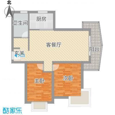 和兴东城94.00㎡三期3、4#楼E户型2室2厅1卫1厨