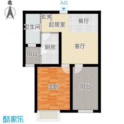 玫瑰湾65.00㎡1/2B户型1室2厅1卫1厨