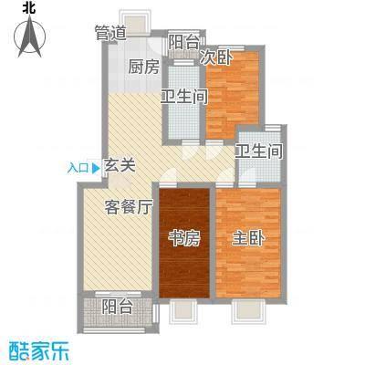 舜江碧水豪园113.97㎡B4户型3室2厅2卫1厨