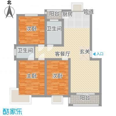 舜江碧水豪园123.96㎡二期舜江首府B3户型3室2厅2卫1厨