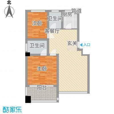 舜江碧水豪园89.90㎡3#楼H户型2室2厅2卫1厨