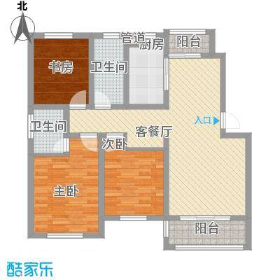 海上印象花园113.54㎡Da户型3室2厅2卫1厨
