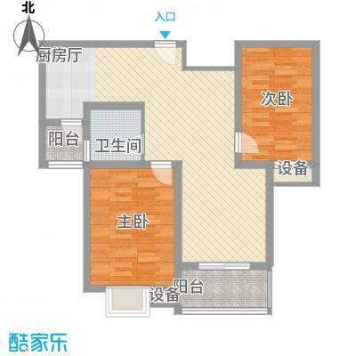 舜江碧水豪园89.01㎡户型图R户型2室2厅1卫1厨