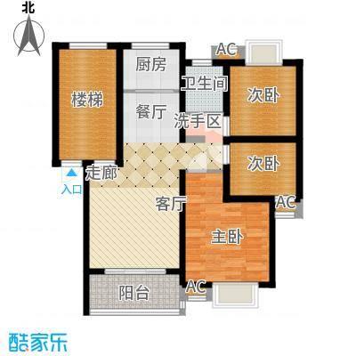 森隆蓝波湾89.54㎡H型户型3室2厅1卫1厨