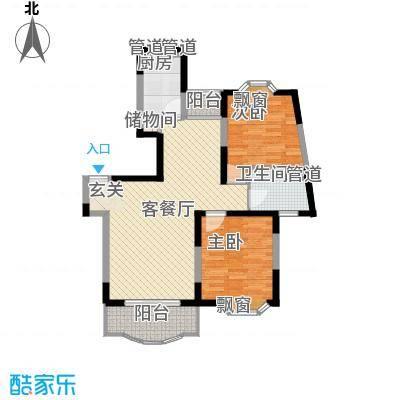 上海星城100.67㎡E型户型2室2厅1卫1厨