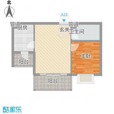 菁华时代57.00㎡A-2户型1室2厅1卫1厨