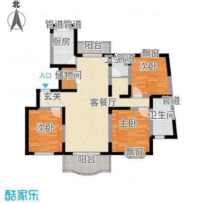上海星城132.20㎡H型户型3室2厅2卫1厨