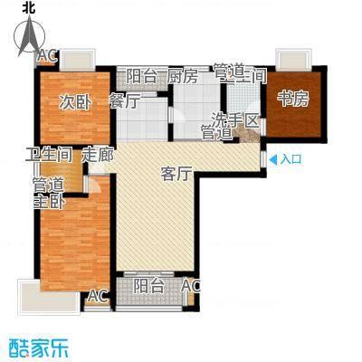 自由都市(乐活家园)122.00㎡二期18#、19#楼G1户型3室2厅2卫1厨