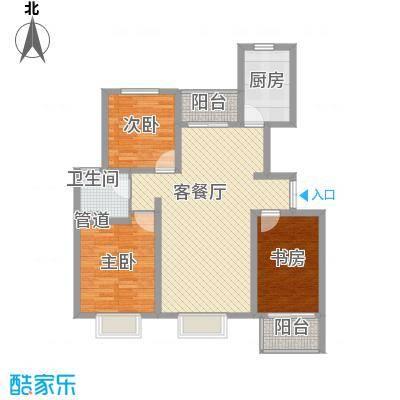 博威黄金海岸114.58㎡一期3#、7#楼A4户型3室2厅1卫1厨