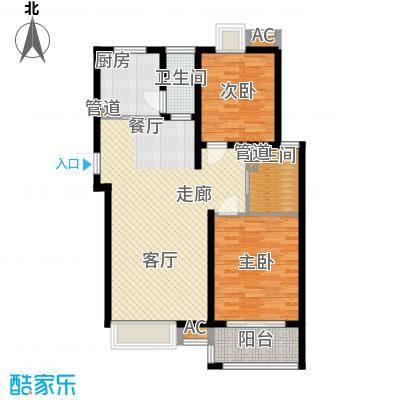 自由都市(乐活家园)86.00㎡二期1#楼D3户型2室2厅1卫1厨