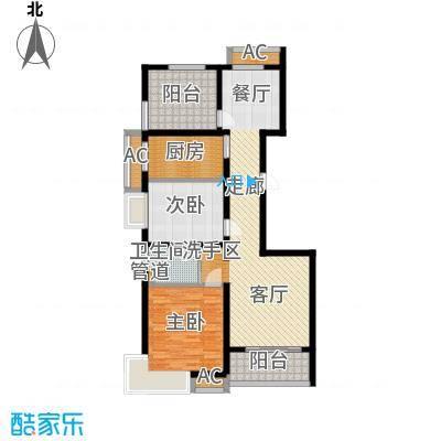 自由都市(乐活家园)109.00㎡二期11#楼F2户型2室2厅1卫1厨