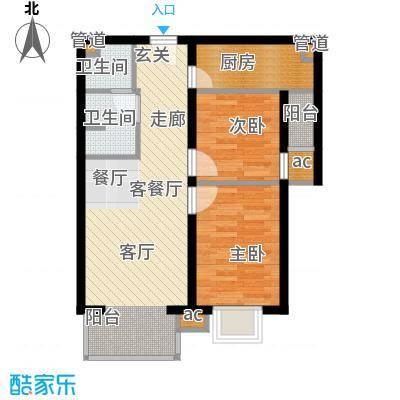 上上城青年新城G-3户型2室2厅1卫1厨