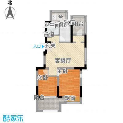 宇尚・苏尚家园81.00㎡B户型2室2厅1卫1厨