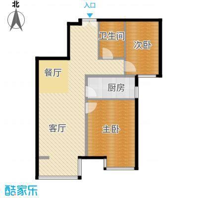 首开国风美唐90.00㎡二期朗观17号楼4层以上1单元02户C2户型2室1厅1卫1厨