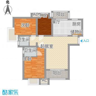 高巢108.12㎡B户型3室2厅2卫1厨