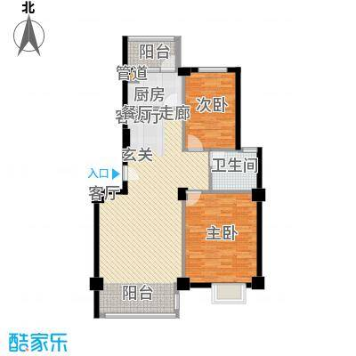 金嘉名筑84.00㎡二期C区高层两房户型2室2厅1卫1厨