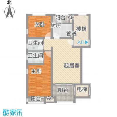 珠江国际城别墅119.00㎡D1户型诺丁风景户型2室2厅2卫1厨