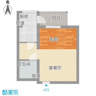 上奥世纪中心50.69㎡B/B反(售罄)户型1室1厅1卫1厨