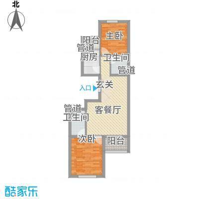 上奥世纪中心91.38㎡bJ户型2室2厅2卫1厨