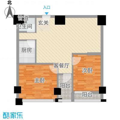领秀公馆78.94㎡1#楼l户型2室2厅1卫1厨