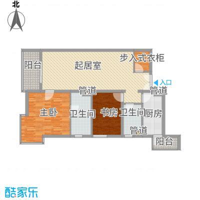 富海中心公寓129.03㎡D座C户型2室2厅2卫1厨