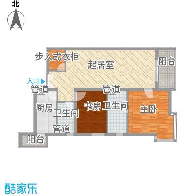 富海中心公寓129.03㎡D座C反户型2室2厅2卫1厨