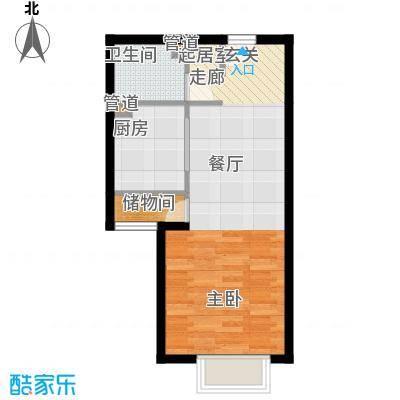 博雅德园51.74㎡3号楼B户型1室1厅1卫1厨