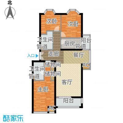 学风1911118.73㎡户型3室1厅2卫1厨