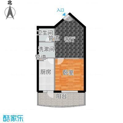 怡清园57.53㎡三号楼J户型1室1厅1卫1厨