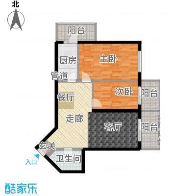 怡清园93.96㎡三号楼F户型2室2厅1卫1厨