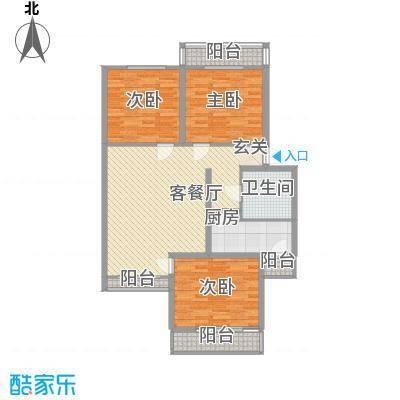 沁春家园127.01㎡F标准层户型3室2厅1卫1厨