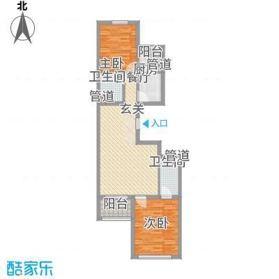 上奥世纪中心91.38㎡bJ反户型2室2厅2卫1厨
