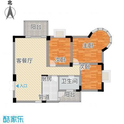 城市花园110.33㎡N3型户型3室2厅1卫1厨
