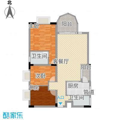 城市花园117.22㎡F3型户型3室2厅2卫1厨