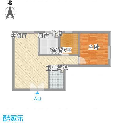 建工郭庄家园A2户型1室1厅1卫1厨