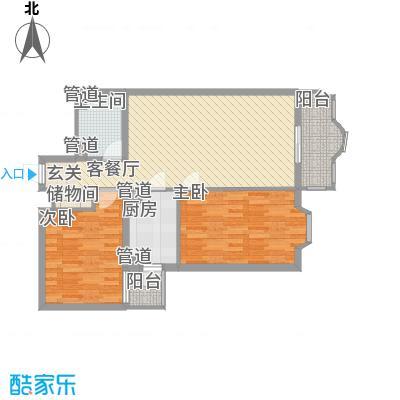 中鑫国际101.39㎡E户型2室1厅1卫1厨