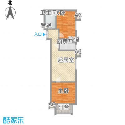 建工郭庄家园B3户型2室1厅1卫1厨