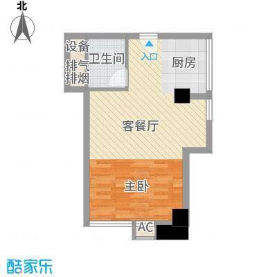 沙发公寓56.42㎡A-6二层户型1室1厅1卫