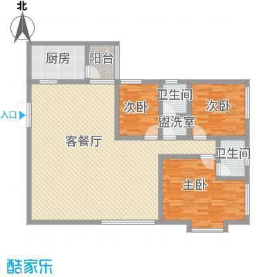 威华广场153.27㎡B座听涛阁户型3室2厅2卫1厨