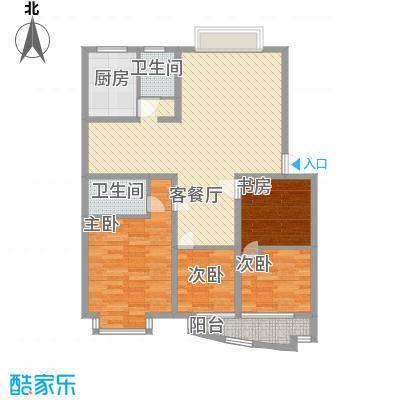 金峰沐春园118.52㎡2栋B型户型4室2厅2卫1厨