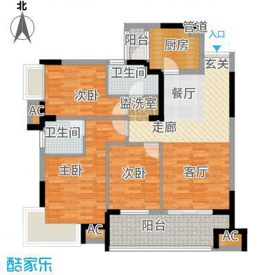 融科东南海二期104.00㎡北海1/2/3栋户型3室2厅2卫1厨