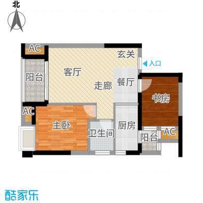 融科东南海二期72.00㎡一期西海8-b1户型2室2厅1卫1厨